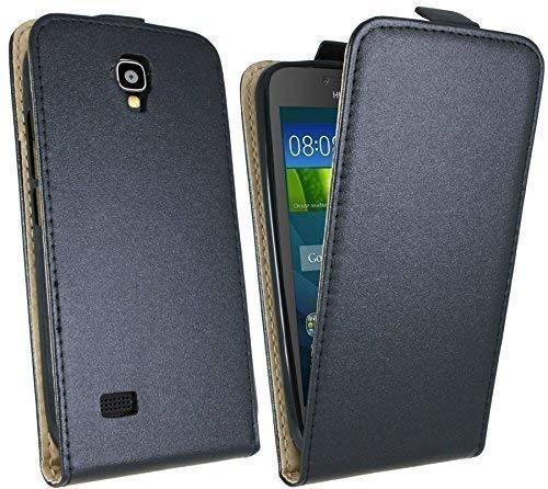 ENERGMiX Handytasche Flip Style kompatibel mit Huawei Ascend Y5 in Schwarz Klapptasche Hülle