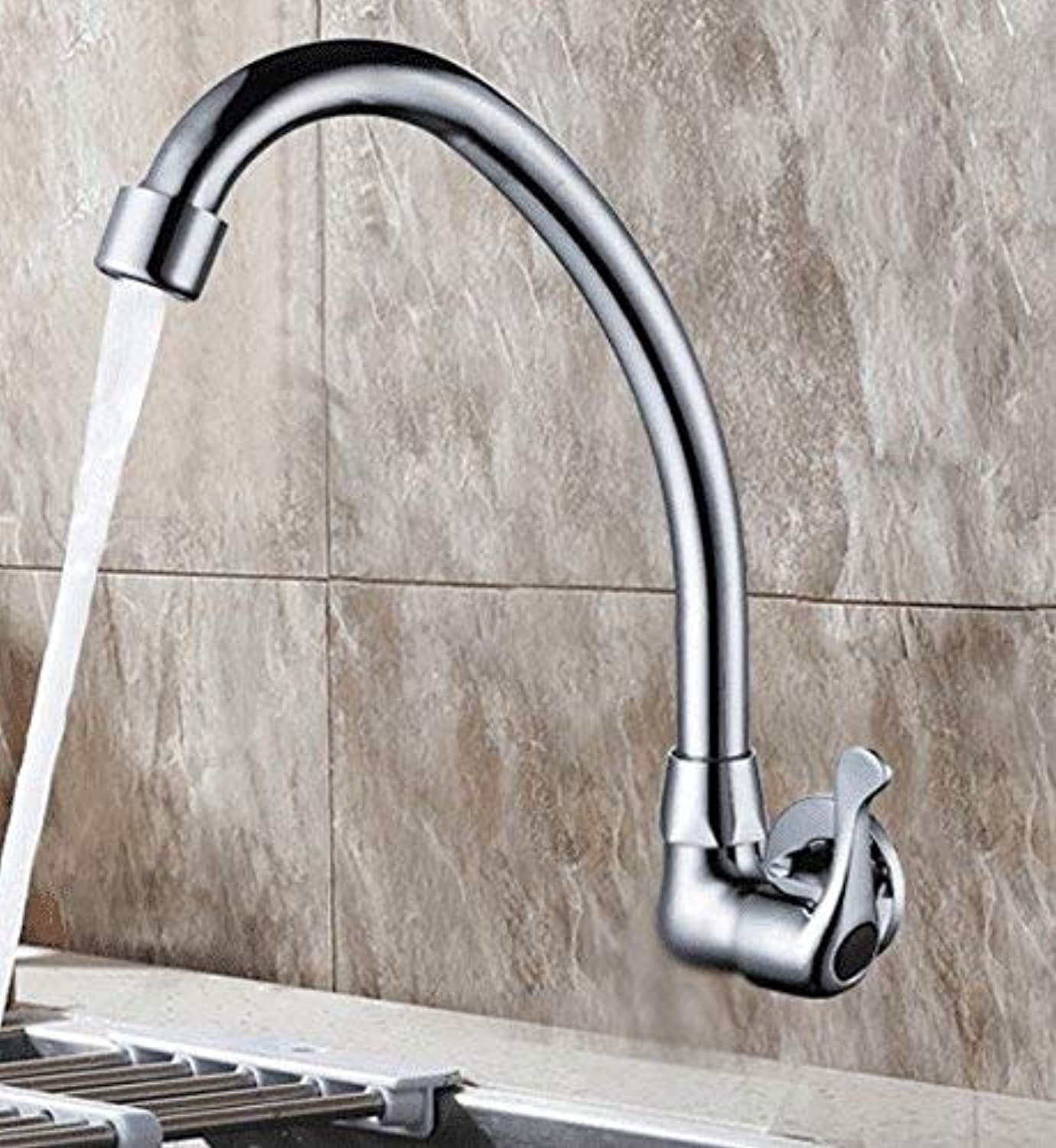 Oudan Sink Taps kitchen copper redating Single cold Into the wall Double handle ceramics Single hole