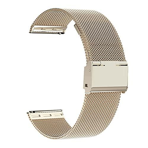 HENHEN Jun store - Correa milanesa para Samsung Galaxy Watch Active 2 Active 3 S3, compatible con Samsung Galaxy Watch 42 mm y 46 mm (color de la correa: oro FG, ancho de la correa: 20 mm