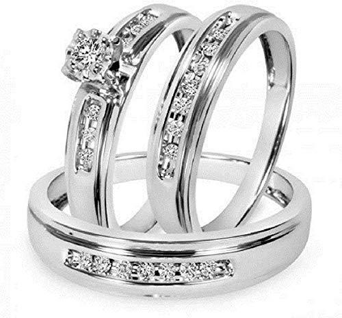 Triostar Juego de anillos de boda para hombre y mujer, de 1/4 quilates, de plata de ley 925, Piedra Metal, Cubic Zirconia,