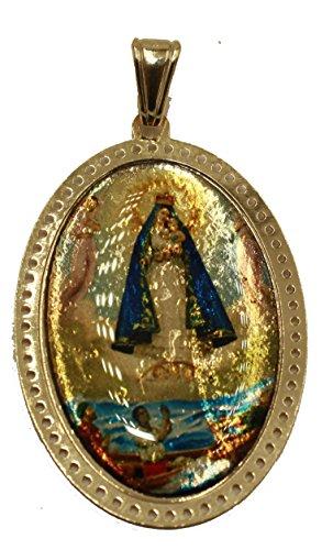 Diamantados de Florida Virgen Caridad del Cobre Y Los Tres Juanes - Colgante de Nuestra Señora de la Caridad Yoruba Chapado en Oro de 18 Quilates con Cadena de 50 cm
