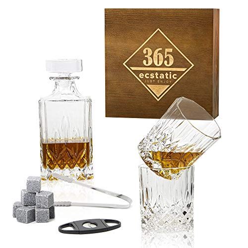365ecstatic - Whisky Gläser - Whisky Stones Geschenk Set 14 teilig - Retro Look - Whiskey Karaffe - Hingucker in jedem Wohnzimmer