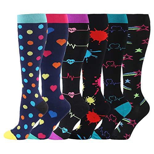 HLTPRO Compression Socks for Women \& Men - 6 Pairs 20-30 mmHg Compression Stockings for Medical, Nurse, Running