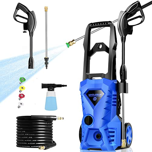 Upgraded WHOLESUN 3000 PSI Electric Pressure Washer Cleaner 1.8GPM Power Washer Powerful Cleaner, Suitable for Household use, with Hose, Spray Gun and 4 Adjustable nozzles