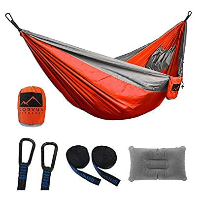 "Corvus Outdoors Double Camping Hammock, for Hiking and Backpacking, 2-Person, Portable 118""x73"" Size, with Tree Straps and Inflatable Pillow, Plus Additional Storage Pockets, Made of Rugged Nylon"