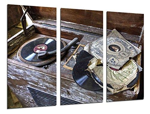Cuadro Fotográfico Tocadiscos Vintage, Discos de Vinilo, Musica Tamaño total: 97 x 62 cm XXL