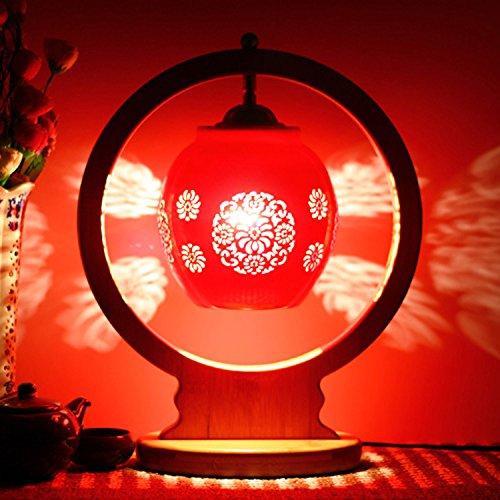 motes uvar Dormitorio con bombilla caliente retro–Mode regalo de boda real claro rojos de boda lámpara Nueva, bambú–redondas HU Crisantemos Yu rojos de CH 'un, Button Cambiar