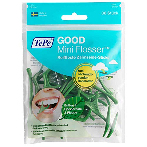 Tepe GOOD Mini Flosser, Zahnseiden-Stick, 6er Pack (6x 36 Stück)