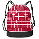 PmseK Turnbeutel Sportbeutel Kordelzug Rucksack, Sporttasche Denmark Flag Shoulder Bags Travel Sport Gym Bag Print - Yoga Runner Daypack Shoe Bags with Zipper...
