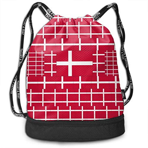 PmseK Turnbeutel Sportbeutel Kordelzug Rucksack, Sporttasche Denmark Flag Shoulder Bags Travel Sport Gym Bag Print - Yoga Runner Daypack Shoe Bags with Zipper and Pockets