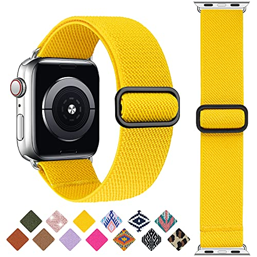 Greatfine Stretchy Solo Loop Strap Compatible with Apple Watch Bands 42mm 44mm,Elastic Nylon Braided Band&Adjustable Buckle Women Men Sport Watch Bands for iWatch Series 6/5/4/3/2/1 SE(B Yellow-42/44)