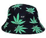 EOZY Unisex Sonnenhut Bucket Hat Fischerhut Cannabis Muster Mütze Dunkelgrün