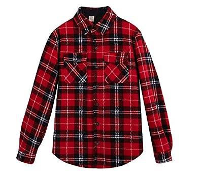 ZENTHACE Men's Warm Sherpa Lined Fleece Plaid Flannel Shirt Jacket(All Sherpa Fleece Lined) Red S