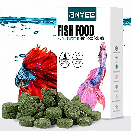 Tablet Fish Food - Attaches to Side of Tank Fish Food for Bettas Gouramis Guppies Neon Cardinal Catfish or Other Small Tropical Freshwater Fish (Espirulina)