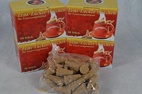 200 Stück (4X50) Zimt-Zuckerhütchen a 8g Zuckerhut Zucker Zimt für Feuerzangentasse Weihnachten Feuerzangenbowle Geburtstag Sylvester