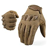 YOSUNPING Motorcycle Tactical Full Finger Gloves Touchscreen Rubber Guard Protection Gloves for Airsoft Paintball Hunting Hiking Military Army Cycling Bike Motorbike Riding Climbing Camping Brown L