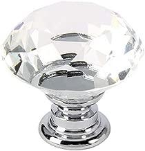 5 Pcs Crystal Glass Cabinet Knobs-30mm Diamond Shape Pulls Handles for Drawer Dresser Kitchen Cabinets Wardrobe Bathroom Cabinet Desk - YL00008 (Clear)