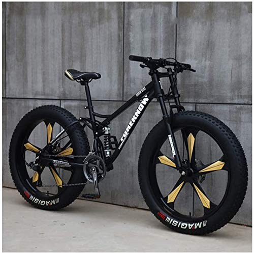 Mountain Bikes, 26 Inch Fat Tire Hardtail Mountain Bike, Dual Suspension Frame and Suspension Fork All Terrain Mountain Bike (Color : 24 Speed, Size : Black 5 Spoke)