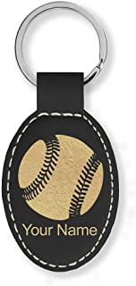 Oval Keychain, Baseball Ball, Personalized Engraving Included (Black with Gold)