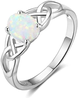 925 Sterling Silver Ring,Opal Stone Gem 925 Sterling Silver Vintage Fashion Ring For Women Size 6-10