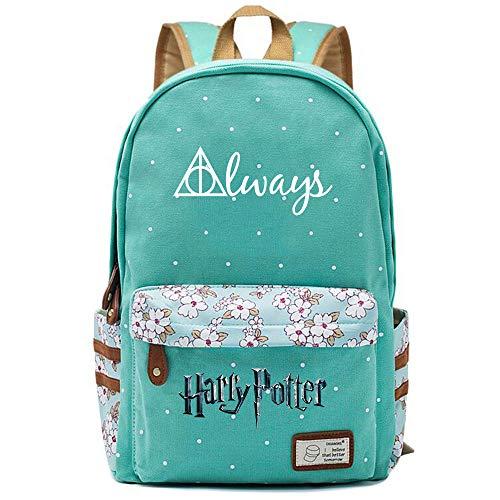 NYLY Ragazze Floral Backpack Zaino per donna appuntamenti di moda shopping Zaino da viaggio Notebook Casual Daypacks, borsa di Harry Potter i Doni della Morte L (Verde chiaro) Style-7