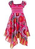 GILLSONZ Neu602vDa Mädchen Kinder Sommer Freizeit Kleid (122/128, Pink)