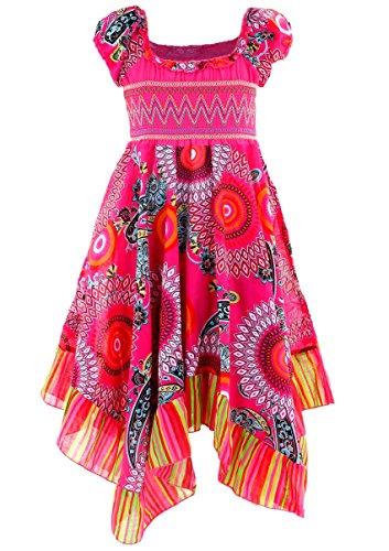 GILLSONZ Neu602vDa Mädchen Kinder Sommer Freizeit Kleid (134/140, Pink)