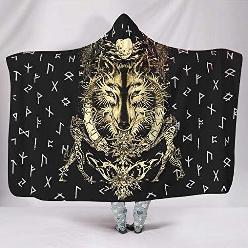 Hothotvery - Manta con capucha con estampado del año vikingo Odin lobo Rabe Luna con capucha de pelo para Navidad, para sofá blanco 130 x 150 cm