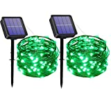 MAOKOT Solar String Lights, 2 Pack 33FT 100 LED Green Solar Powered String Lights, 8Modes Waterproof Copper Wire Outdoor Lights for Patio Yard Trees Party Christmas (Green)