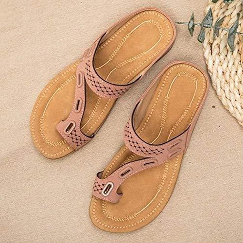 Mxfjolly Hin Beach People Words Drag para Mujer, Zapatillas Planas Informales de Gran tamaño-Pink_41