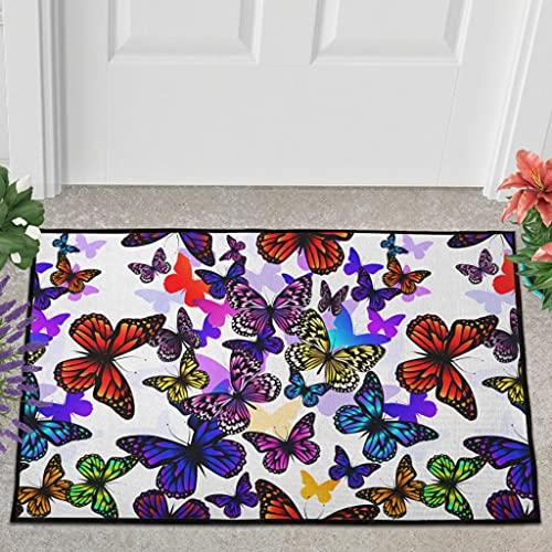 Veryday Felpudo con diseño de mariposas, para entrada, para dormitorio, 50 x 80 cm, color blanco