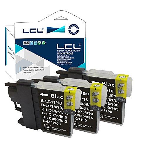 LCL Cartucho de Tinta Compatible LC-985 LC985 LC65 LC-985BK LC65BK (3Negro) Reemplazo para Brother DCP-J125 J315W J515W J140W