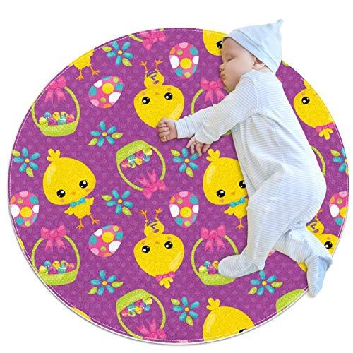 Alfombra Redonda Infantil Huevos de Pascua y Pollo Alfombra Moderna Antideslizante Suave Alfombra de decoración de Suelo para dormitorios Salones y Habitaciones de niños 80x80cm