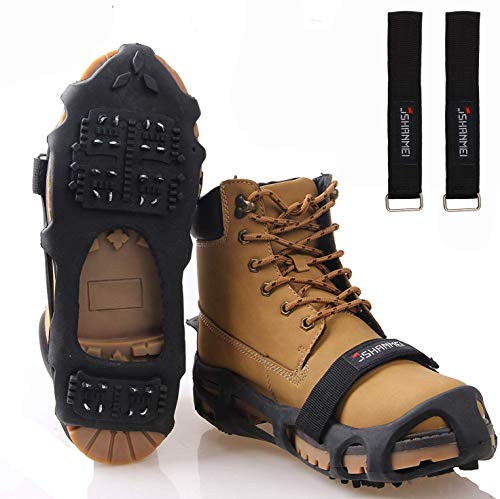 JSHANMEI Walk Traction Ice Snow Cleat Anti Slip Snow Ice Grippers Spikes Boots Shoe Cover Winter Outdoor Hiking Fishing Climbing Size Large