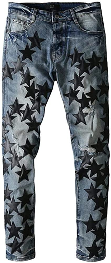 Street Star Leather Five-Pointed Stars Fight Leather Hole wash Jeans Tide Brand (Black and Blue, 36)