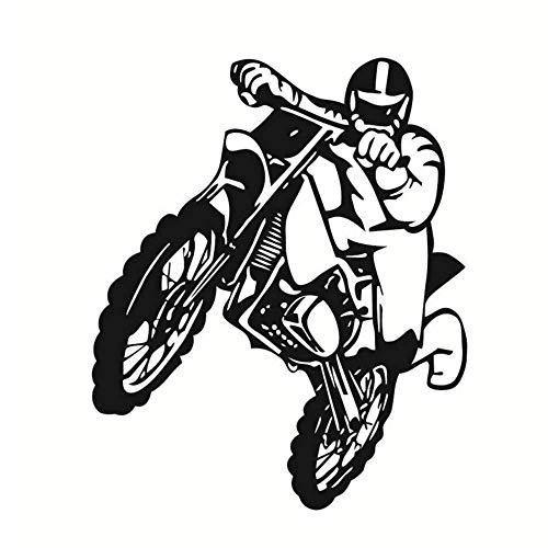 Springt Motorrad Wandaufkleber Motocross Home Decoratioin Vinyl Abnehmbares Wandbild Poster Schlafzimmer Wohnzimmer Dekor 44X53Cm