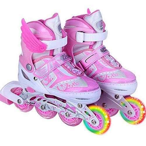 Yhjmdp Verstellbare Inline-Skates, Mit Leucht PU Räder Dreifach Schutz Leichte Inline Skates Inliner Gute Geschenk Für Kinder L(39-42)