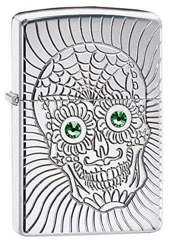 Zippo Unisex's Armor Sugar Skull Design High Polish Chrome Emblem Attached Pocket Lighter, One Size