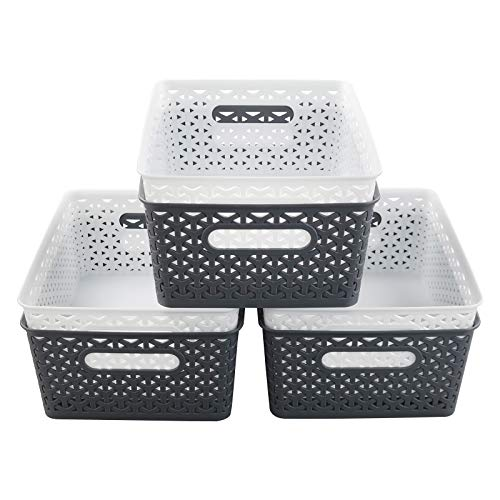 Vcansay Aufbewahrungskörbe, rechteckig, Kunststoff, 8 l, Weiß und Dunkelgrau, 6 Packungen