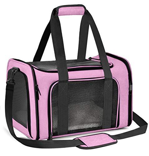 Qlf yuu Transporttasche für Katze Hund, Faltbare Tragebox für Mittel Kleine Haustiere im Flugzeug, Transportbox für Haustiere Mittel Kleine Hund Katze, 15lbs Katzen Hunde Tragebox(Rosa, Medium)