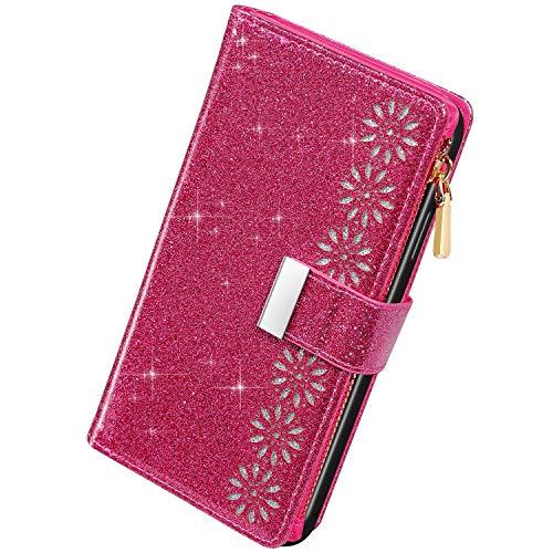Herbests - Funda compatible con Samsung Galaxy J6 2018 - Funda con purpurina de piel sintética - Cartera tipo libro con cremallera para niña y mujer con purpurina - Rosa roja