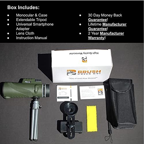 12x50 High Power Handheld Monocular Telescope- Waterproof Portable Scope Monocular- Monocular Telescope for Smartphone- Universal Adapter, 2.5 X More Stable Tripod -Hunting Birding Travel