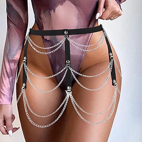 Sethain Punk Leder Gürtel Schwarz Metall Bauchkette Geschichtet Gold Taillengürtel Körper Schmuck für Frauen und Mädchen