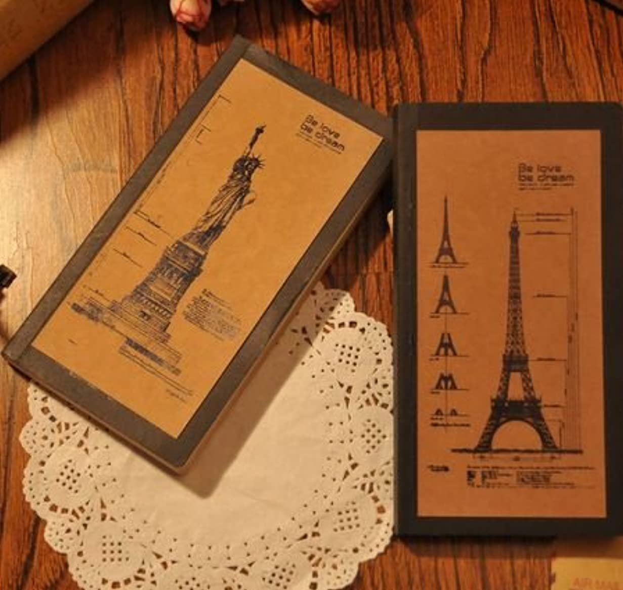 ビンテージ風 セピアな エッフェル塔 & 自由の女神 デザイン ノート 2冊セット