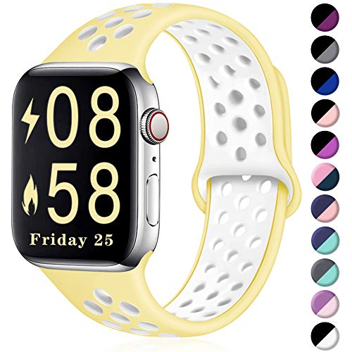 Comvin Compatible for Apple Watch Band 38mm 40mm, Soft Silicone Sport Band Breathable Replacement Wristband Compatible for iWatch Series 5/4/3/2/1, Light Yellow/White S/M