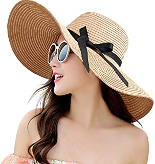Womens Straw Hat Wide Brim Floppy Beach Cap Adjustable Sun Hat for Women UPF 50+