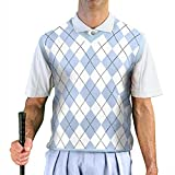 V-Neck Argyle Golf Sweater Vests - GolfKnickers: Mens - Pullover - Light Blue/White - XL