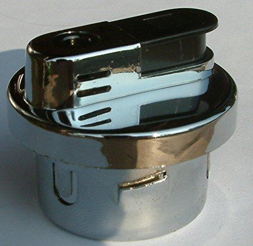 Unbekannt Gas Feuerzeug Tischfeuerzeug Einsatz Silber Chrom poliert rund 5,0 x 4,2 cm