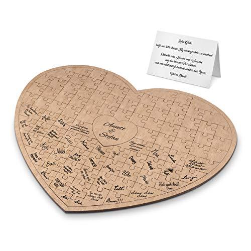 Hochzeit Gästebuch Alternative Okoume Holz 49,7x41cm mit 95 Teilen - Puzzle Herz