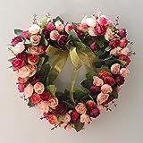 Fleur De Couronne Artificielle à La Main,forme De Coeur Guirlande De Porte Couronne De Ferme Guirlande Couronne Pour Le Mariage Pièces Maîtresses De Table Home Party Décor -b 35x35cm(14x14inch)